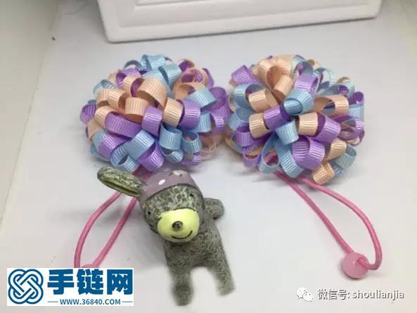 DIY儿童绣球发绳