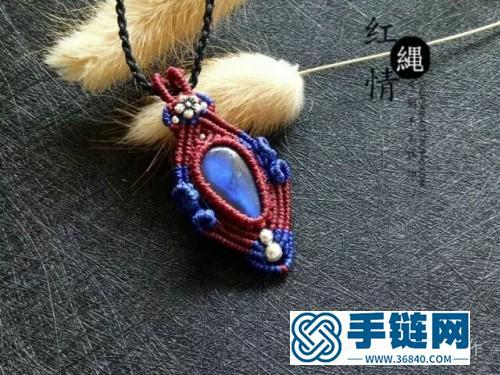 中国结青花瓷拉长石项链吊坠的详细编制教程