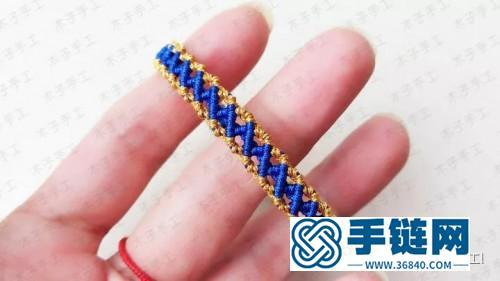 中国结撞色菱格手链的制作步骤图