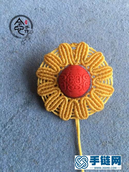 中国结扁蜡向日葵花瓣的详细编制方法