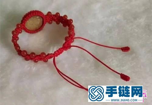 编绳硬币玛瑙珠手链的制作图解