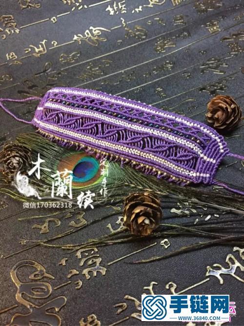 南美风的宽版绳编米珠手镯的详细制作图解
