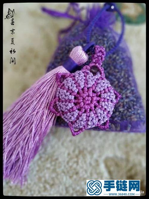 扁蜡绳编花语香包的编制教程