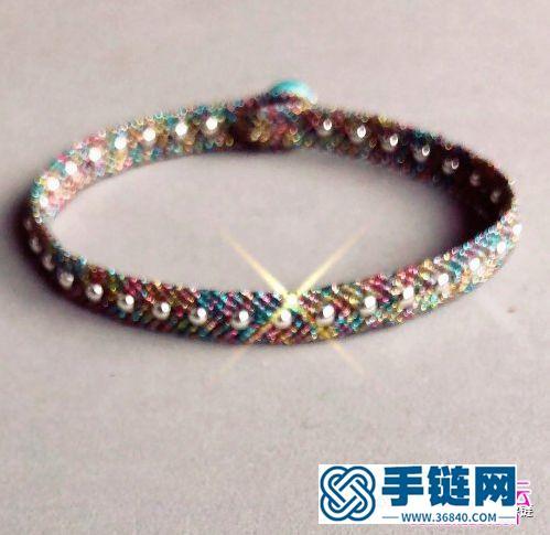 闪亮彩金线蜡绳绳编银珠手链的编织教程
