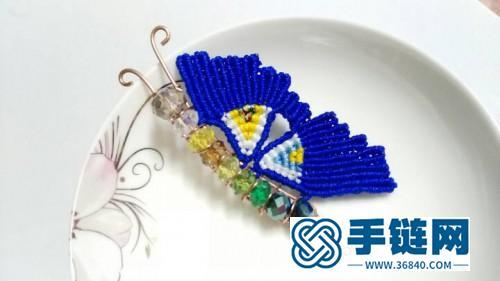 中国结编织的蝴蝶胸针图片,有编法教程