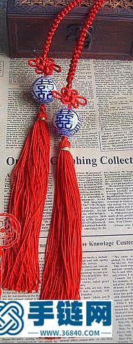 喜字青花瓷珠窗帘挂的制作方法