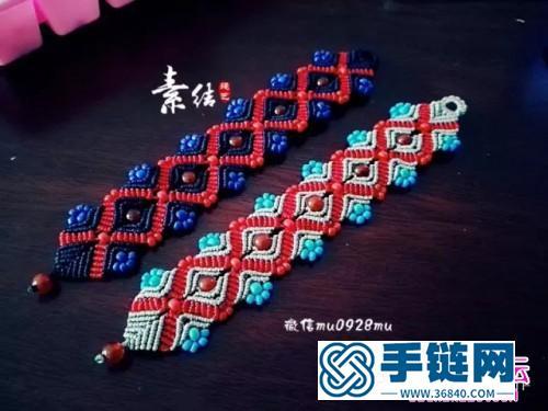 中国结编织多彩米珠手绳方法图解