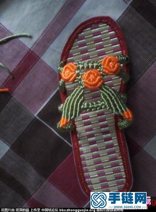 中国结编织叶子玫瑰花拖鞋图解