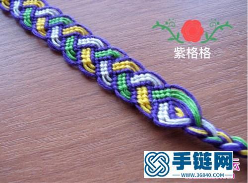 中国结编织撞色反斜卷结手链教程