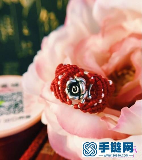 中国结编织的玫瑰戒指的方法