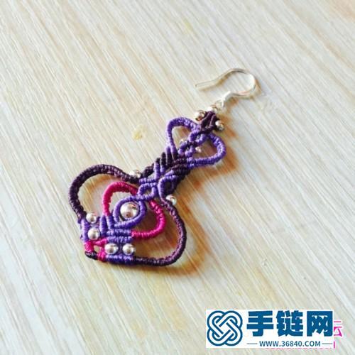 绳编幽幽紫魅纯银珠耳钩的详细制作图解