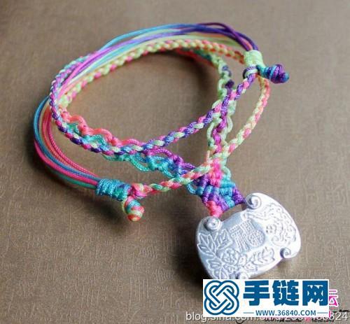 七彩绳编银锁项链的方法