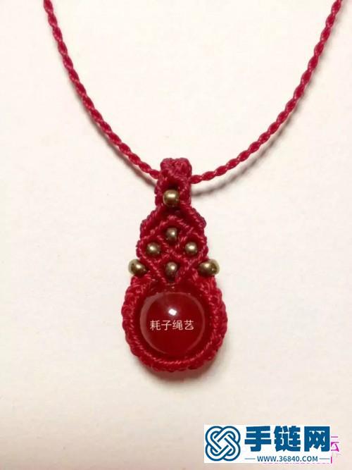 中国结编织包珠锁骨项链图解