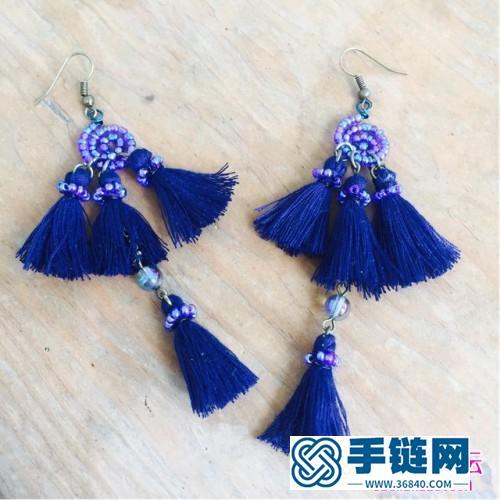 米珠、铜丝、水晶珠制作异域风格流苏耳环的方法