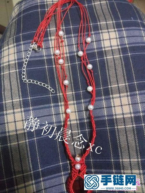 线,珠子制作包石头珍珠项链教程