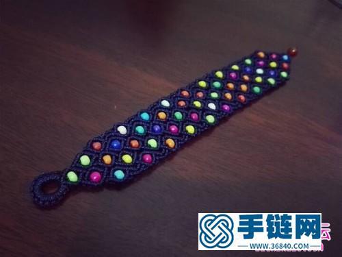 彩色米珠手绳教程制作步骤图