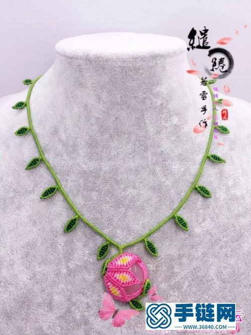 中国结编织包珠桃花项链的方法教程