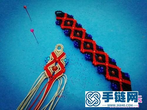 米珠黑红串色手绳教程