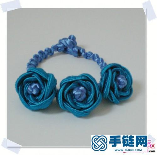 绳编玫瑰花手链教程步骤