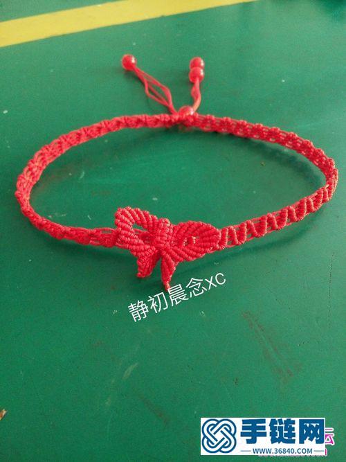 线,珠子编织的蝴蝶项链图解