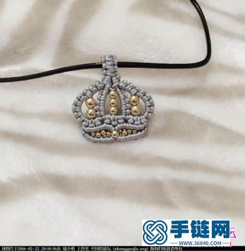 中国结编织皇冠造型的项链小挂饰图解