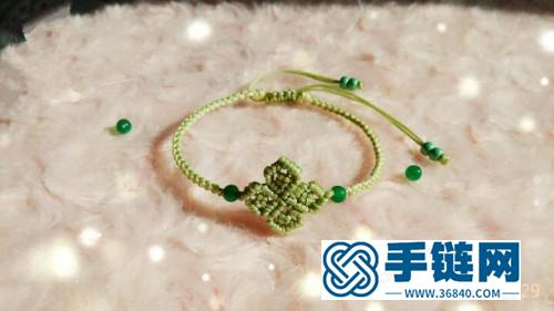中国结四叶草小清新手链的的编法步骤图