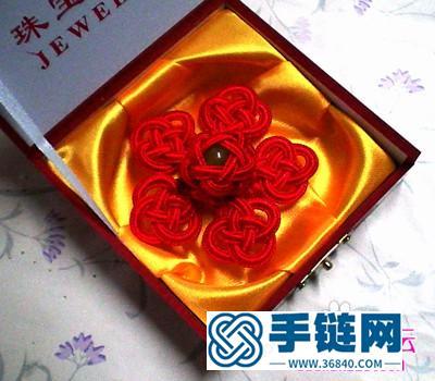 中国结编结制作的五福胸花教程步骤