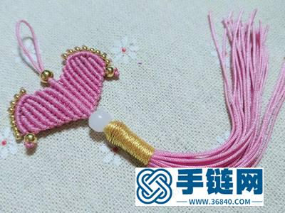 手工编法简单DIY_动手试可爱的编绳心形小挂饰