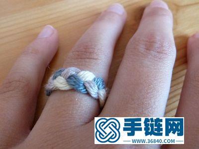 教你如何手编三色混合毛衣线戒指
