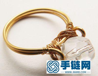 手编铜戒指水晶珠子戒指教学