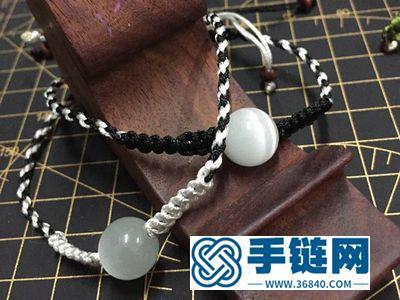 玉线编绳教程图_黑白色时尚平结手绳编法