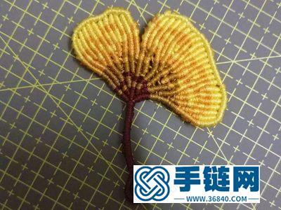 用蜡线进行手编银杏叶子过程的图解