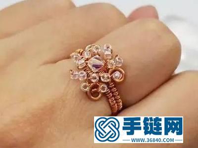 金属铜编饰品教程_手编水晶花指环的做法教学