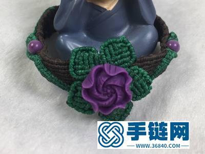 手串编绳方法_简单DIY紫云母小花手串的编法图解