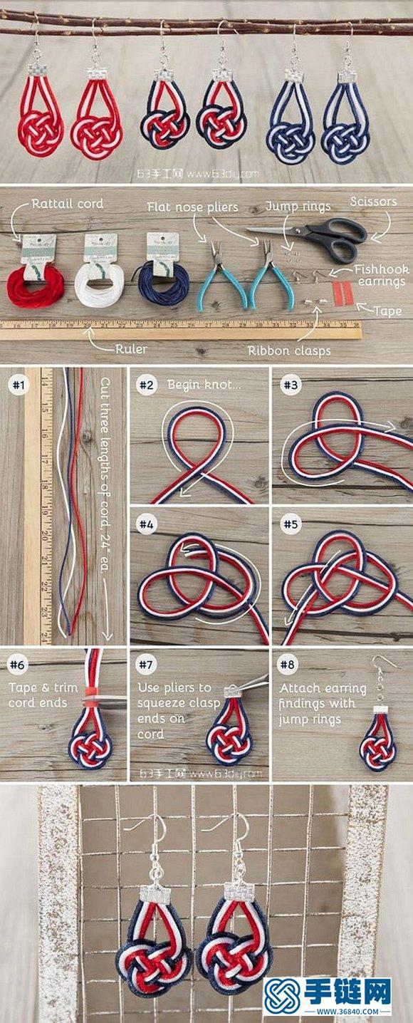 白蓝红三色编绳耳环手工编织图解