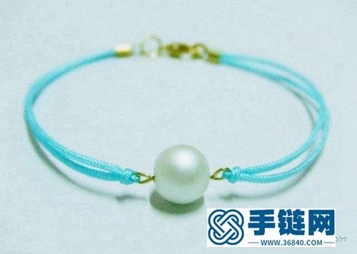 小清新珍珠手链编绳手链简单diy教程