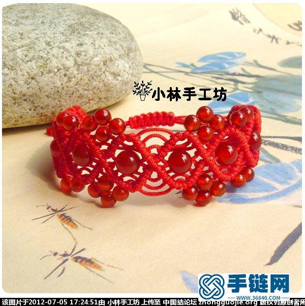 红玛瑙花边手链编织过程
