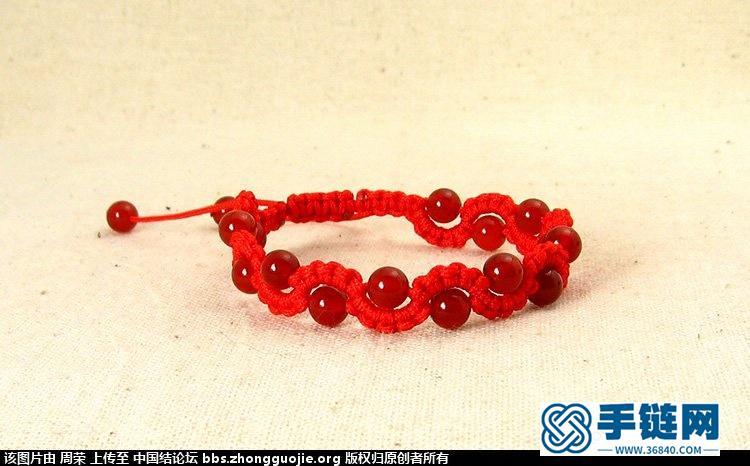 论坛学的红绳手链,稍加修改,雀头结加平结