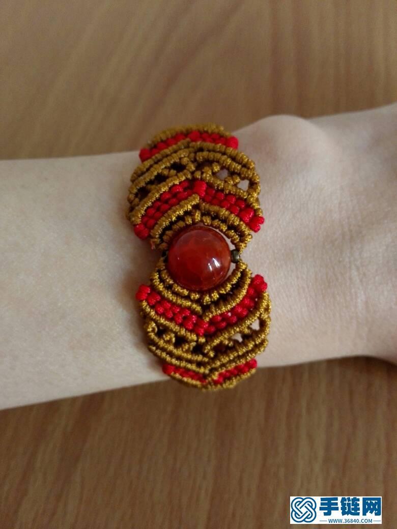 天然红玛瑙包珠手链