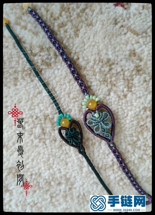 心形镶珠蜡线手链编绳教程