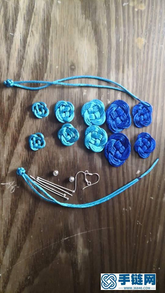 蓝色妖姬玫瑰花耳坠
