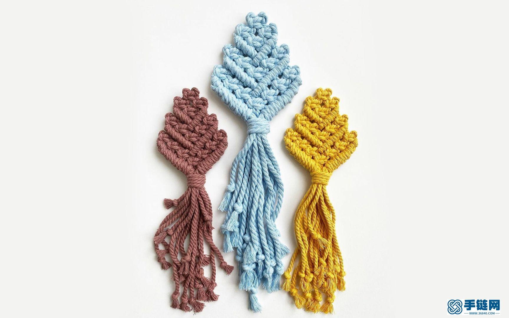 Macrame编织叶子胸针,与春天应景的装饰美物