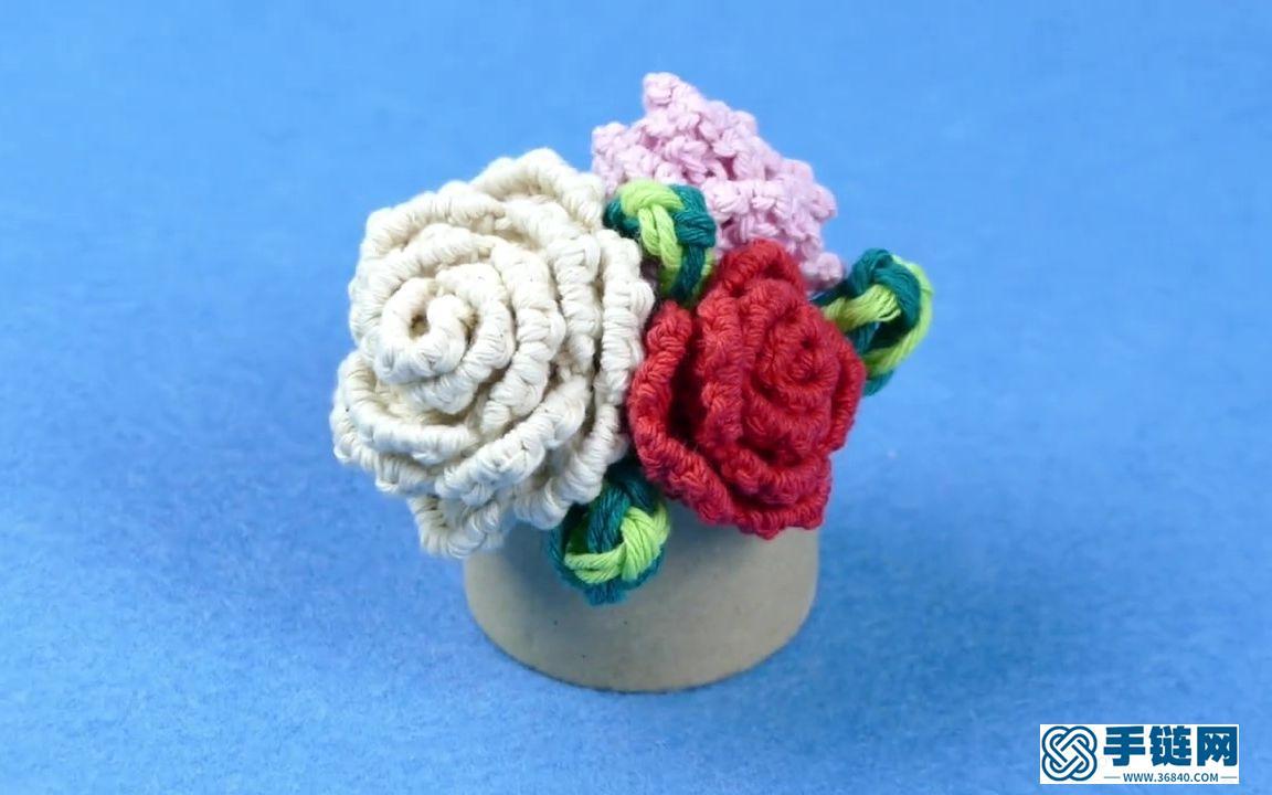 初学者也能学会的玫瑰花花朵编织教程,简单又美丽