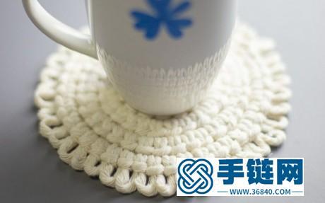 Macrame手工编织雀头结花边圆形小杯垫