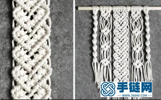 Macrame编织爱心图案小挂毯