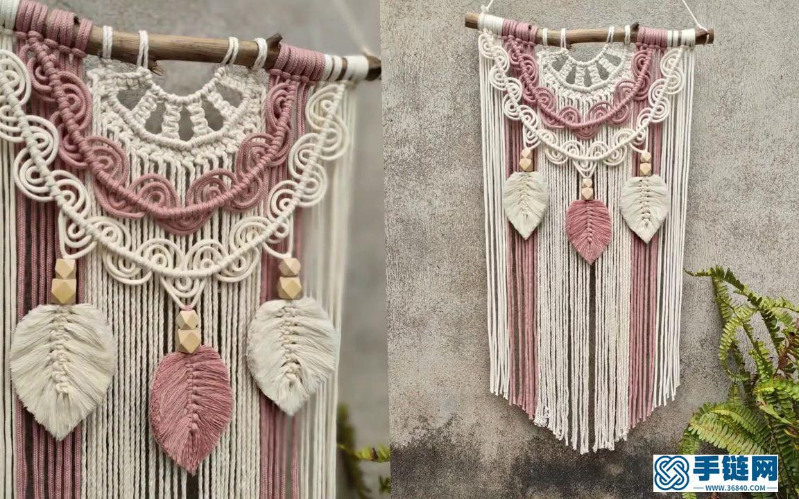 Macrame编织拼色半圆波浪花样流苏挂毯装饰