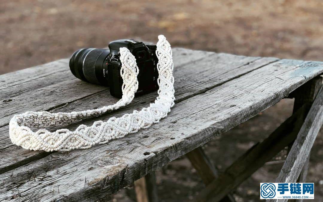 Macrame手工编织交叉波浪花纹相机带-包带