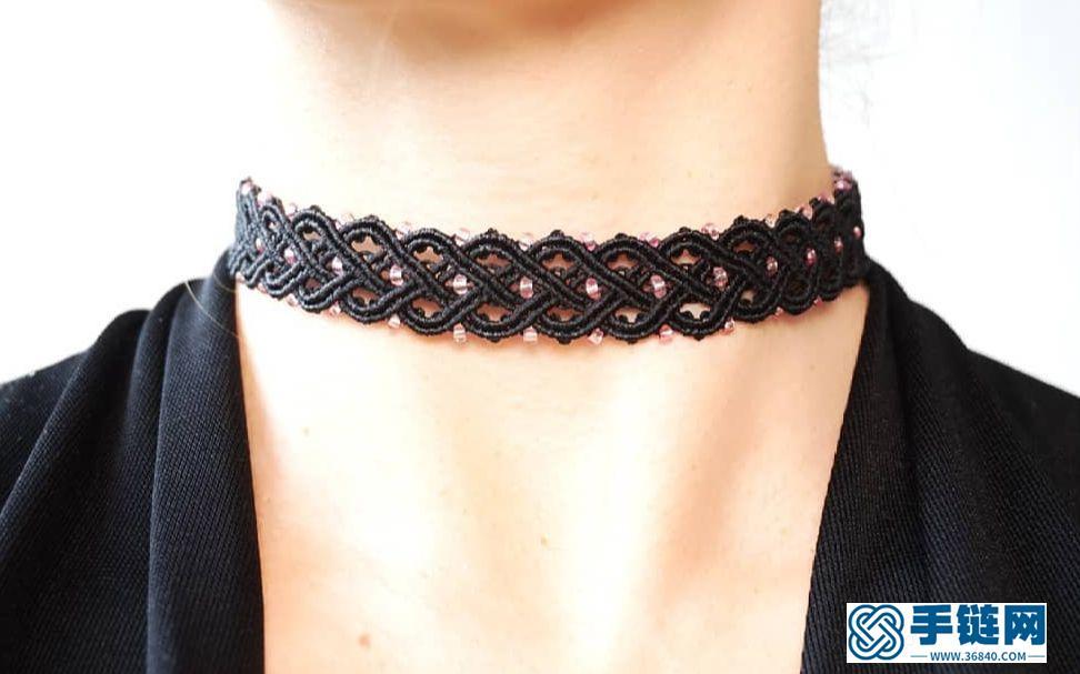 Macrame结绳编织优雅法国哥特式蕾丝短项链