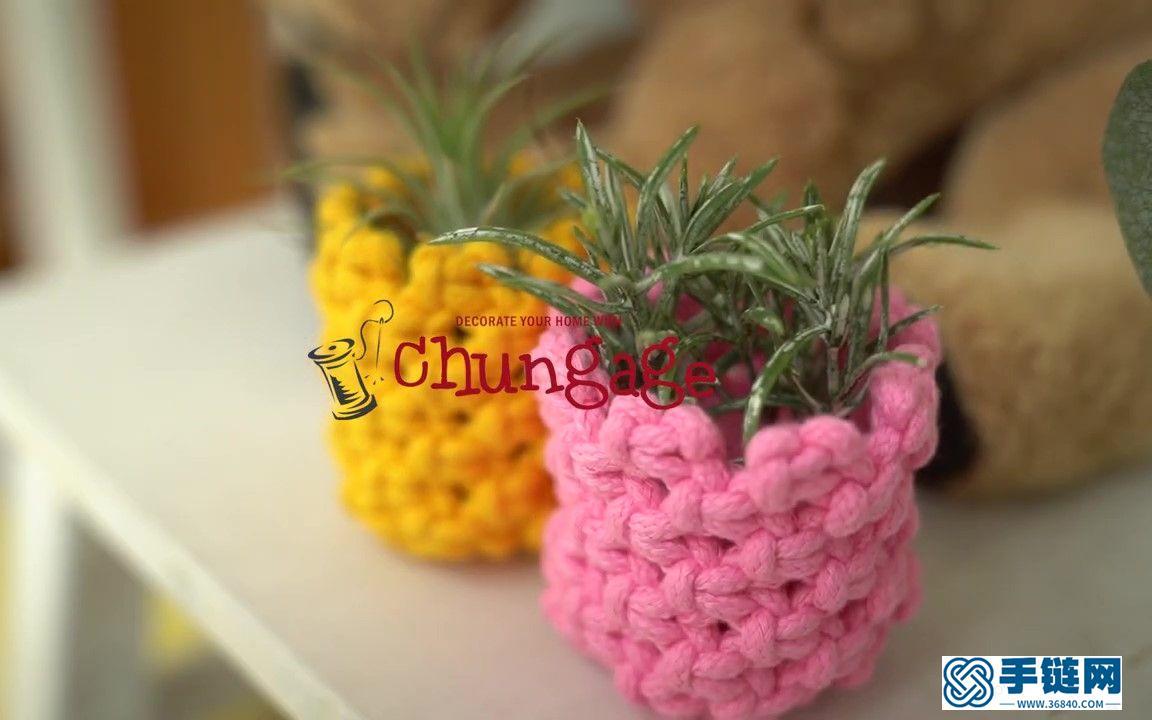 Macrame编织迷你菠萝植物花盆