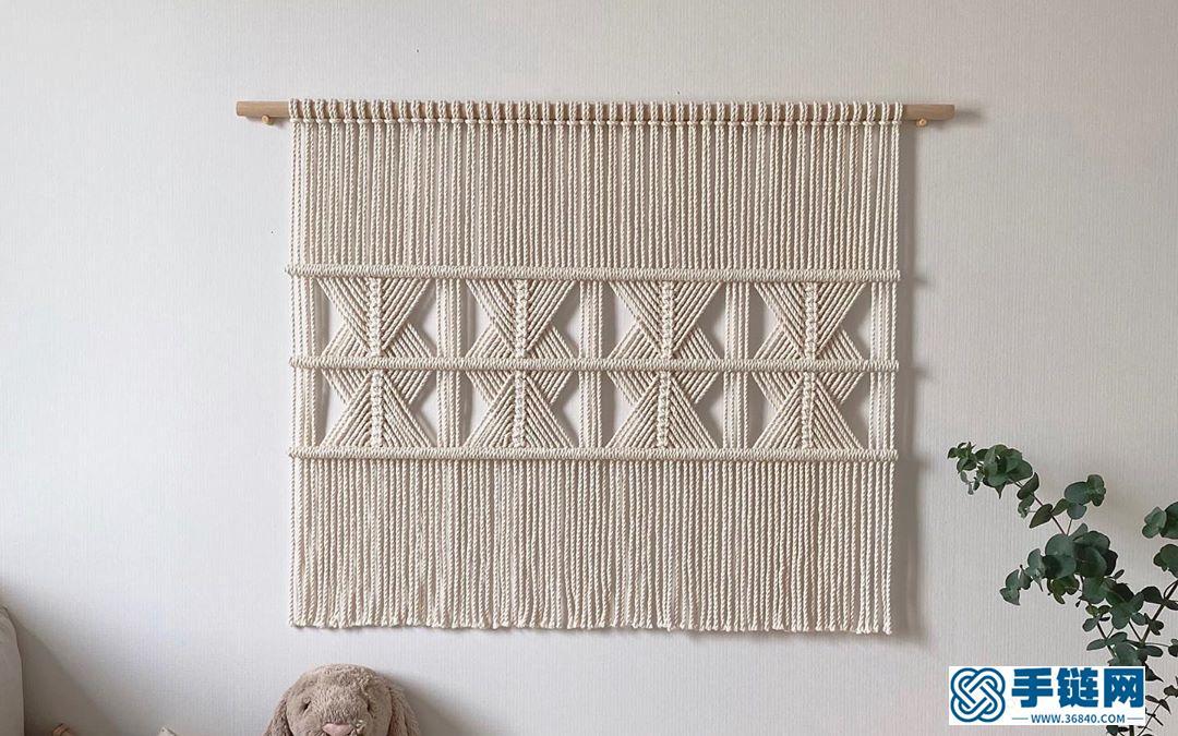 一款非常简单的鱼骨结花样方形挂毯装饰,大型挂毯不都是复杂的哦